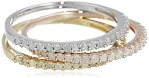 Sterling Silver White, Rose and Yellow Rhodium Plated Diamond 3 Piece Semi-Eternity Ring Set, (0.62 Cttw, H-I Color, I3 Clarity), Size 7