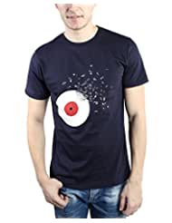 TOMO Men's Cotton Navy Blue Color Round Neck DJ DISC Printed T-shirt