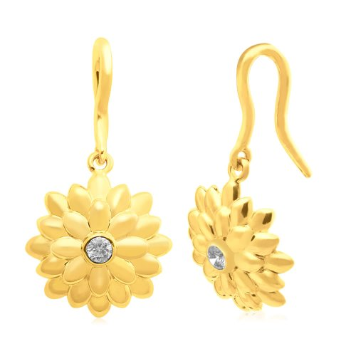 Jewelili 18k Gold Plated Sterling Silver Diamond Flower Earrings (1/10 Cttw, I-J Color, I2-I3 Clarity)