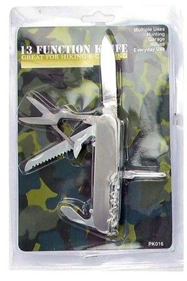 13-Feature Pocket Knife [24 Pieces] *** Product Description: Pocket Knife Has 13 Tools And Functions In Total. Includes Knife, Bottle Opener, Philips Head Screwdriver, Flathead Screwdriver, Nail File, And Needle. Material: Metal. Color: Silver. ***