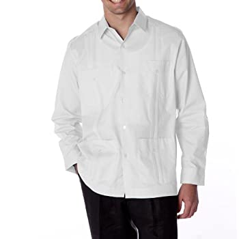 Men's guayabera polycotton long sleeve