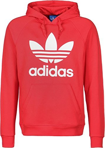 Adidas Originals Trefoil con cappuccio, Uomo, Originals Trefoil, Rosso acceso, L