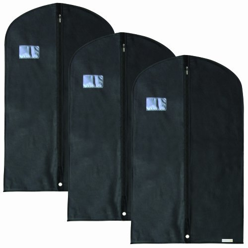 Discounted Pack Of 3 Breathable Smart Black Suit Garment Clothes Covers Bags - 100Cm - Suit Size