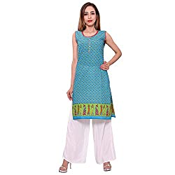 MSONS Women's Blue Printed H/S Long Kurti in Cotton Fabric