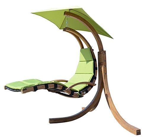 Outsunny - Poltrona-sedia sospesa in legno Seduta sospesa Lettino prendisole con imbottitura verde