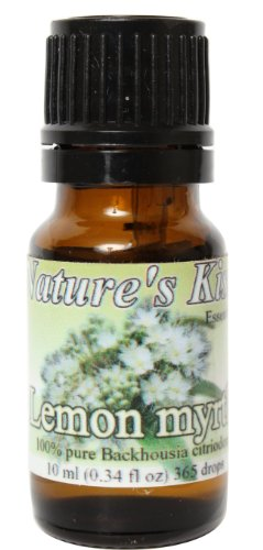Nature's Kiss Products Lemon Myrtle Therapeutic Grade 10ml Pure Essential Oil, 0.34 Fluid Ounce