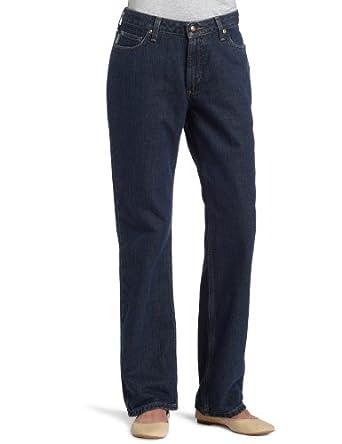 Carhartt Women's Relaxed Fit Flannel Lined Straight Leg Jean Jean, Antique Darkstone, 4x34
