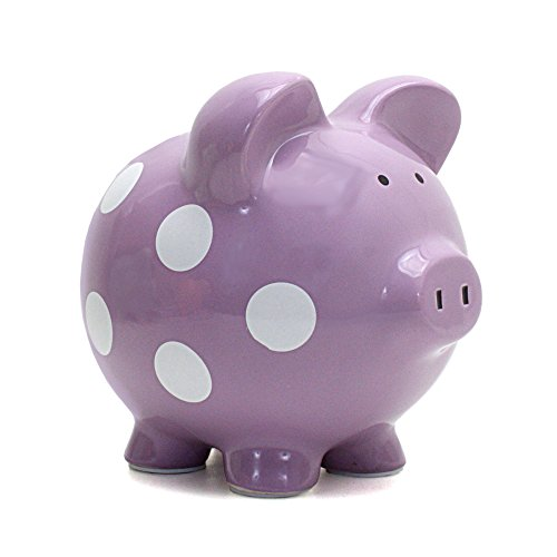 Child to Cherish Polka Dot Piggy Bank, Purple - 1