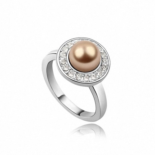 TAOTAOHAS- [ Search Name: Naughty Princess ] Size 7 (1PC) Crystallized Swarovski Elements Austria Crystal Ring, Made of Artificial Pearl, Alloy Plated with 18K True Platinum / White Gold and Czech Rhinestone, Size 7, (Intl. C.:54.4mm, Intl. D.: 17.3mm)