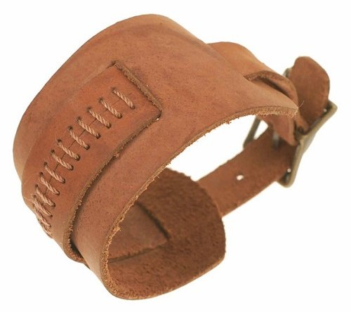 Brown Suede Watch Strap Wristband with Brass Buckle.