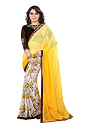 Pramukh saris Womens Georgette Designer Lace Work Sari (Yellow)