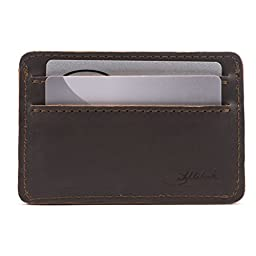 Saddleback Leather Front Pocket ID Wallet Dark Coffee Brown: Tough, Thin, Minimalist ID and Card Holder