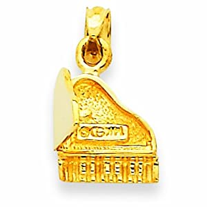 14K 3-D Piano Pendant with Moveable Lid Pendant