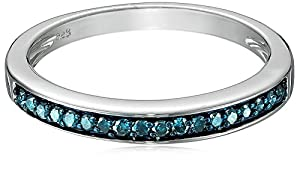 Sterling Silver Blue Diamond (0.2cttw ) Anniversary Ring, Size 8