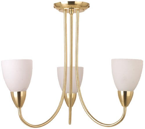 TP24 Rome 3 Arm Pendant in Satin Brass Finish