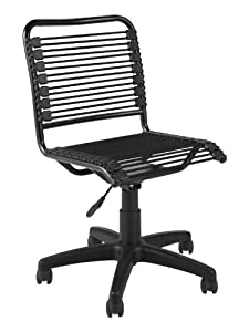 ITALMODERN Bungie Low Back Office Chair, Black Bungies / Graphite Black Frame