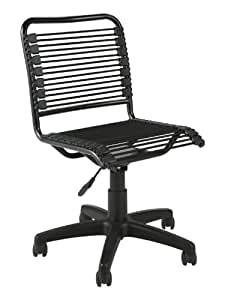 ITALMODERN Bungie Low Back Office Chair, Black Bungies / Graphite Black Frame