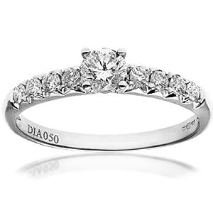 Ariel 18ct White Gold Shoulder Set Engagement Ring, IJ/I Certified Diamonds, Round Brilliant, 0.50ct Size N