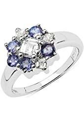 Square White Topaz and Round 3.00 mm Tanzanite Ring in 925 Sterling Silver - Ring Size 7