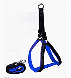 Smarty Pet High Quality Nylon with Blue Padding Dog Harness .75 inch Black - Small (small)
