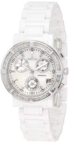 Invicta Women's 0727 Ceramic Chronograph Diamond Accented Mother of Pearl Ceramic Watch