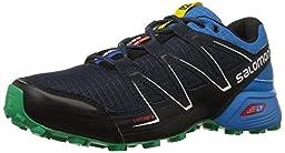 Salomon Men\'s Speedcross Vario Trail Running Shoe, Deep Blue/Methyl Blue/Real Green, 8 D US