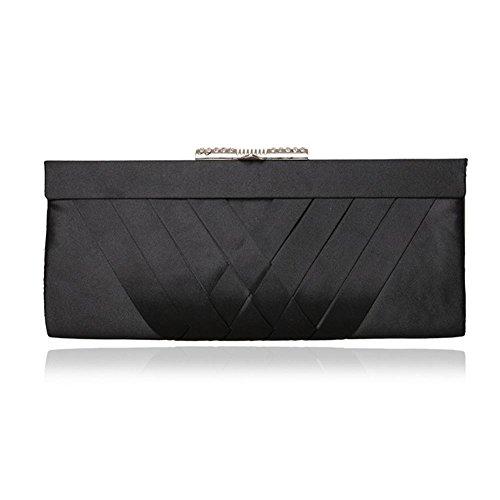 Borsa delle donne Satin Pieghe Strass Clutch Wedding Bag nuziale di promenade di sera (28 * 12cm) , black