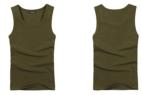 Men's Sexy Tight Athletic Tank Top Shirts Soft Cotton Sports Vest-Army Green