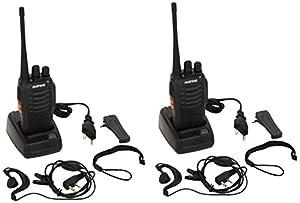 2 x Baofeng BF-888S UHF 400-470 MHz CTCSS / DCS Alta Iluminación Linterna con Auricular de mano Amateur Radio Walkie Talkie Negro