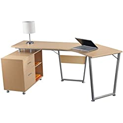 Realspace Brent Dog-Leg Desk - Oak