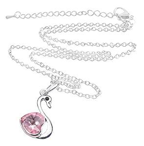 niceeshop(TM) Love Heart Shape Crystal Bling Rhinestone Swan Pendant Drop Necklace Jewelry-Hot Pink