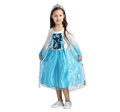 Santana Fashion Girls Snow Queen Costume Snow Princess Dresses - F3-Elsa