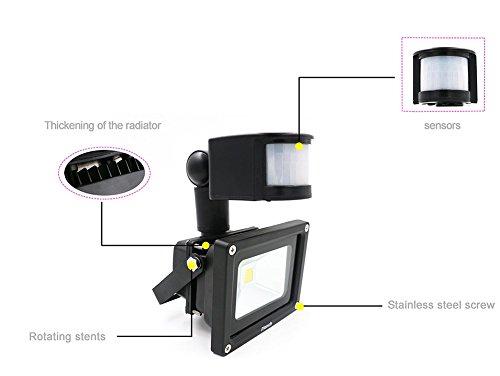 IYonch 10W LED Motion Sensor Flood Light 900lm 6000k Outdoor Waterproof Smart