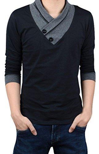Gillbro Uomini Autunno pulsante casual con scollo a V Slim muscolare delle parti superiori del T Shirt, nero, XL