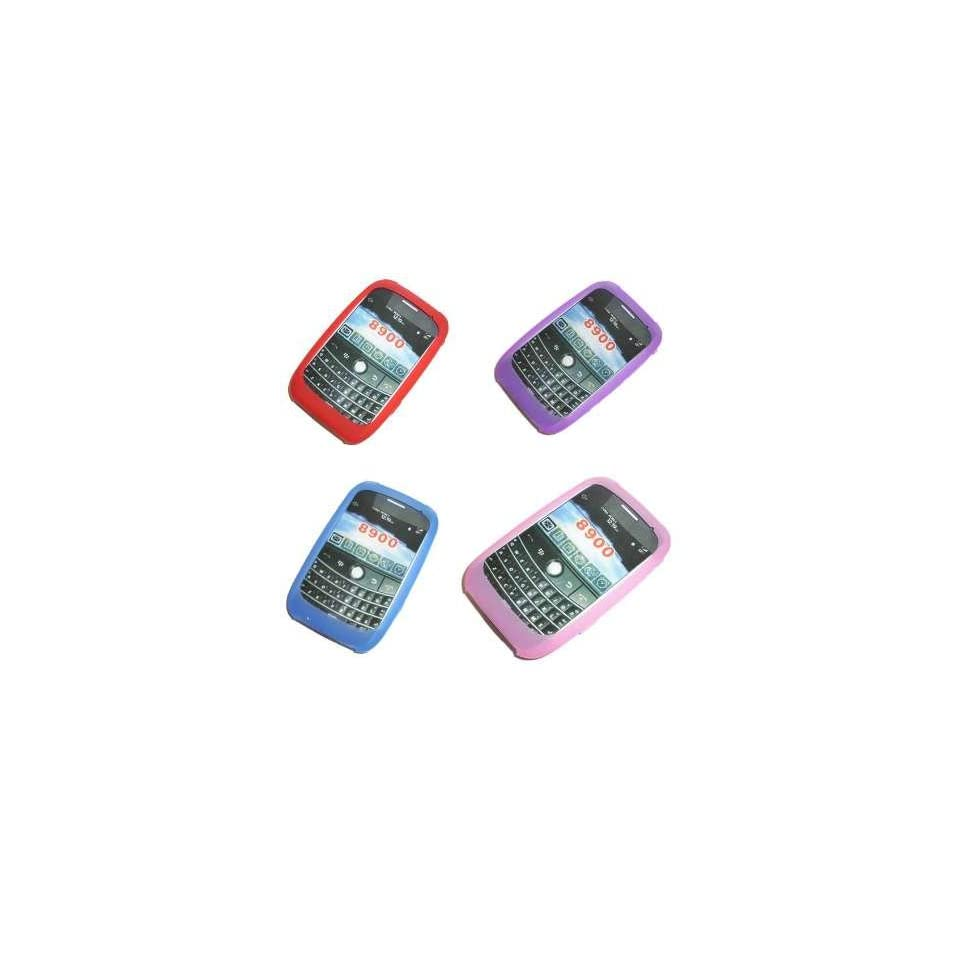 4 Pack [Red, Purple, Blue, Pink] of Silicone Cover Rubber Soft Skin Case for RIM Blackberry 8900 Curve (Javelin)