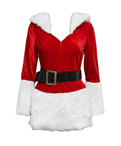 Bslingerie Christmas Santa Girl Women Zip Up Costume Outfit