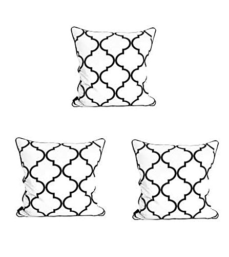 CUSHION COVER -set of 3pcs-100% COTTON- 20'' x 20'', black-JYOTEX