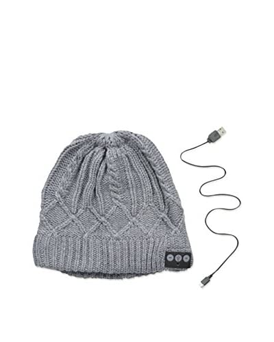 1 Voice Men's Bluetooth Cable Knit Beanie, Grey