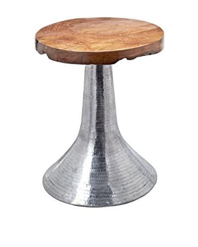 Artistic Lighting Hammered Decorative Table In Silver, Natural Teak/Aluminum