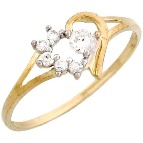 10k Yellow Gold Pretty Round CZ Heart Shaped Promise Ring with accents