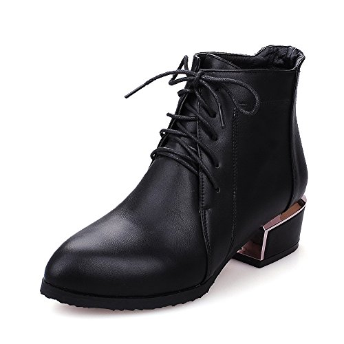 AgooLar Donna Puro Tacco Basso Scarpe A Punta Allacciare Stivali con Nodo, Nero, 36