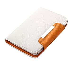 BRAIN FREEZER Z SERIES MAGNETIC HIGH QUALITY UNIVERSAL PHONE FLIP CASE COVER STAND FOR HTC ONE (E8) CDMA WHITE ORANGE
