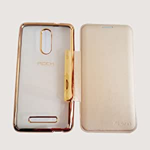 RIdhaniyaa Rock Style Crome Leather Soft TPU Transparent Back Case Flip Cover For- (VIVO Y21)- GOLD