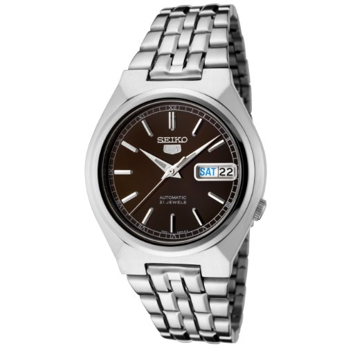 Seiko Men's SNK305K Silver Stainless-Steel Automatic Watch with Brown Dial