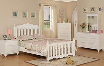 Wooden Twin Bed in White Finish #PD F91039t