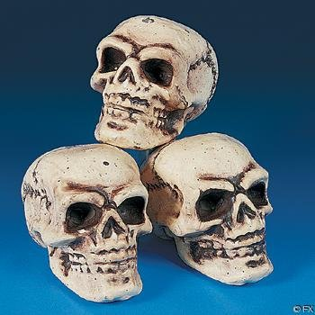 HALLOWEEN SKELETON SKULLS SHRUNKEN for HAUNTED HOUSES & HALLOWEEN YARD DECORATION - 3-PACK - NEW