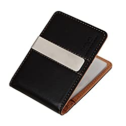 YCM11A04 Light Orange Young Design Black Fine Leather Wallet With 10 Plastic Card Holer Stainless Steel Money Clip Business- casual Gift By Y&G