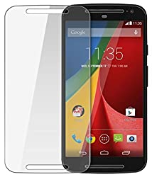 Motorola Moto G (2nd Gen) Compatible Tempered Glass Screen Protector (Antishock, Curved Edged) (Pack of 2, Only Front Transparent Screen Protector) (Combo Offer, get a VJOY 2600 mAh Power-Bank GOLDEN (1 Year Replacement Guarantee, Lithium Polymer Battery, Long Battery-Life) worth Rupee 999/- absolutely free with Screen Protector)