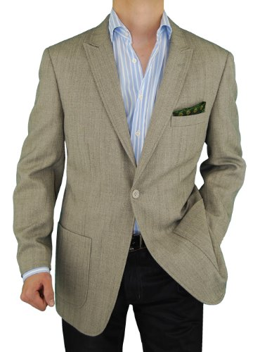 Men's Blazer One Button Modern Fit Coat Gray Touch of Tan