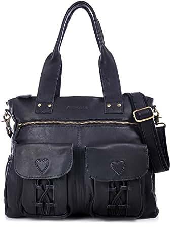 PHIL+SOPHIE, Cntmp, Damen XL Leder Wickeltaschen, Diaper Bags, Babytaschen, Buggy-Taschen, Leder Taschen, Schwarz, 40x35x11cm (B x H x T)